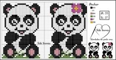Cross Stitch Cow, Cross Stitch Charts, Cross Stitch Patterns, Knitted Hats Kids, Cute Panda, Beading Patterns, Needlepoint, Needlework, Techno