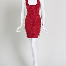 Liza Bruce Fringe Beaded Red Mini Dress