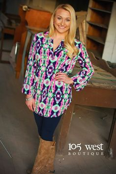 """The """"Eden"""" Blouse $36.00 ~ S,M,L available at 105 West Boutique located in Abbeville, SC. (864)366-WEST. Shipping $5. Find us on Facebook and Instagram!"""