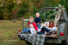 Old Country Christmas. Christmas Session. Children Photography.Old truck