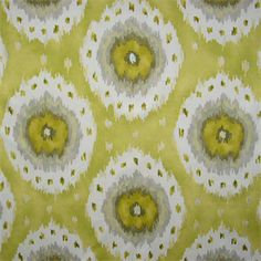 This is a lime yellow and gray Ikat Print medallion design drapery fabric piece. Perfect for pillows, bedding,drapes and window treatments.v000EEF  B3