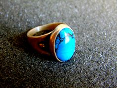 Sterling Silver Ring,Silver 925 Bronze and Turqiose Statement Ring,Gemstone Ring,Bohemian Jewelry,Boho Ring,Blue Turquoise Ring by ArchipelagosBreeze on Etsy