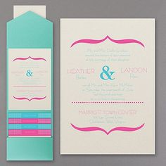 Vivid Accents - Pocket Invitation - Wedding Invitations - Wedding Invites - Wedding Invitation Ideas - View a Proof Online - #weddings #wedding #invitations