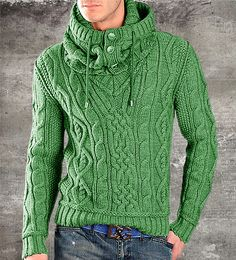 """Imagen relacionada """"MADE TO ORDER Sweater V neck men turtleneck hand knitted sweater cardigan pullover men clothing handmade men's knitting aran cabled cow Gents Sweater, Hooded Sweater, Cable Sweater, Sweater Cardigan, Hoodie Sweatshirts, Handgestrickte Pullover, Turtle Neck Men, Hand Knitted Sweaters, Hand Knitting"""