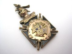 Knights of Columbus Pendant Fob Charm - Enamel and Gold Wash