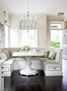 Don't like the colors but like the idea. Makes kitchen dining more comfortable and casual. Would be better set surrounded by a window.