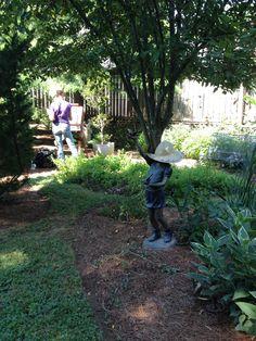 My friend PJ painting in my side garden.