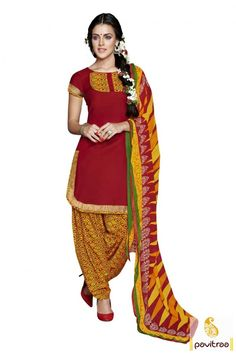 Valentine day wear special color of red and gold chanderi printed canadian style patiala dress online with cheap cost prices. This fancy office wear salwar suit enriched with bagh print design. #salwarsuit, #onlinesalwarsuitsindia,  #indiandresses, #dress,  #womensdresses, #casualdresses, #valentinedress, #patialasalwarkameez More Info.: http://www.pavitraa.in/catalogs/casual-punjabi-salwar-kameez-online-shopping/ Any Query: Call Us:+91-7698234040 E-mail: info@pavitraa.in
