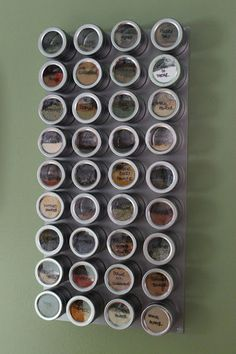 Our cabinets and counterspace were cluttered with spices. It was driving me nuts. Therefore, I decided to create my own magnetic spice rack!Bed Bath and Beyond sells these magnetic tins, which ar… Magnetic Spice Racks, Diy Spice Rack, Magnetic Storage, Magnetic Wall, Kitchen Organization, Organization Hacks, Pantry Organisation, Organizing Tips, Smart Tiles
