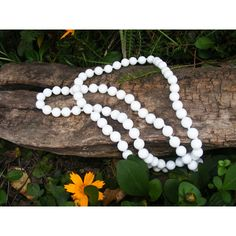 Long 36 inch White Strand Necklace by GoldiesNaturalGems on Etsy ($20) via Polyvore