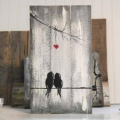 Wood Valentine Gift Farmhouse Wood Sign You and Me Sign Wood Signs Reclaimed Wood Art Anniversary Gift Engagement Gift Idea Love Bird Painting Wood Love Art Wood Wall Decor Wedding Gift for Couple by Linda Fehlen You and Me - Love Birds on a Wire Paint Reclaimed Wood Art, Rustic Wood Signs, Wooden Signs, Wood Wood, Diy Wood, Wood Pallet Art, Rustic Decor, Pallet Signs, Repurposed Wood