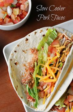 Slow Cooker Pork Tacos Recipe made with a crock pot