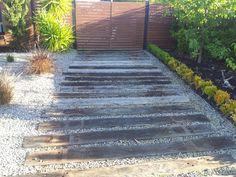 JL Timber Solutions in Doreen, Melbourne, VIC, Fencing Construction Gravel Driveway, Driveway Landscaping, Driveway Ideas, Walkway, Garden Paving, Garden Paths, Casa San Sebastian, Railroad Ties Landscaping, Landscape Design