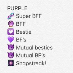 Follow me on Pinterest: @mirtezwiers Cute purple Snapchat emojis #cute #purple #snapchat #emoijs Snapchat Friends List, Friends Emoji, Snapchat Friend Emojis, Snap Friends, Snapchat Message, Snapchat Names, Snapchat Quotes, Good Instagram Captions, Instagram Quotes