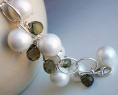 Pearls and Quartz  Smoky Quartz Pearl and by JustBeCreative, $53.00