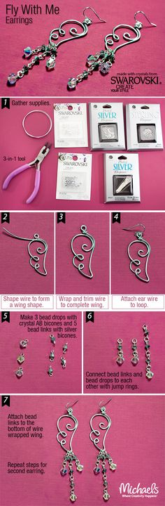 Create your own sparkly angel wing inspired earrings with this step by step tutorial by Swarovski