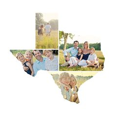 Texas Love Location - Family Portraits arranged in shape of home state!  Love this for grandparents' xmas gifts!