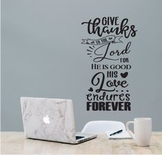 Christian wall sticker to decorate your home, can be placed anywhere such as bedroom, living room, dining room.even the bathroom if that is where you like to read! Christian Wall Art, Give Thanks, Adhesive Vinyl, Wall Stickers, Decorating Your Home, Lord, Dining Room, Thankful, How To Apply