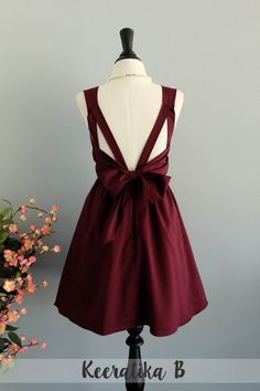 Une partie V robe dos nu marron robe rouge par LovelyMelodyClothing