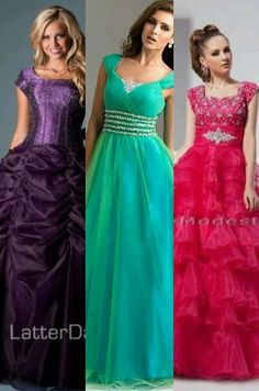 Modest prom dresses- I love the one in the middle<3