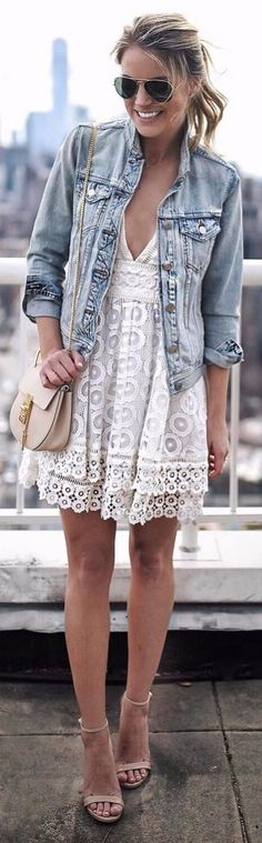 lacey dress perfection mix it with a denim jacket