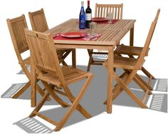 We love the clean, classic look of this set--it will complement nearly any outdoor setting. Crafted from rot-resistant teak using traditional (and highly durable) mortise-and-tenon joinery, it includes a slatted dining table and six matching side chairs. Furniture > Outdoor Furniture > Outdoor Dining Sets.