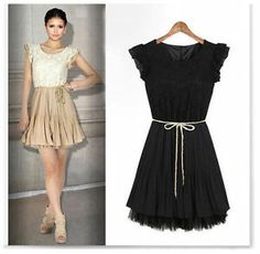 Fashion Women Sleeveless Lady Lace Pleated Skirt Party Dress (Size S M L XL)