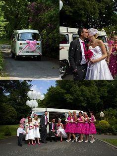 brides maids pose from side, leg kick back     50s wedding & retro van