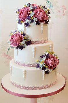Peony Wedding Cake by concepcion Elegant Wedding Cakes, Beautiful Wedding Cakes, Gorgeous Cakes, Wedding Cake Designs, Pretty Cakes, Amazing Cakes, Cake Wedding, Floral Wedding, Wedding Cards