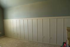 To satisfy my love of all kinds of different styles and colors, I decided to do board and batten on the one big wall in our upstairs multipurpose room. :) The upstairs will have a different vibe than the downstairs, and I think that's so fun! Probably a design rule no-no, but I don't follow …