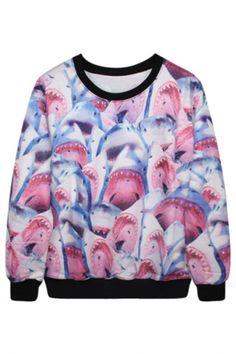 Stylish Graphic Shark Pattern Pink Sweatshirt