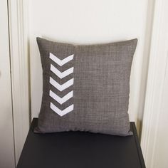 Gray and White Chevron Pillow #pillow #etsy #regansbrain #chevron #arrow #homedecor #cushion
