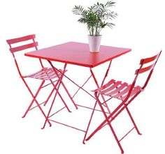 Amazon.com: Outsunny 3 pc Outdoor Patio Furniture Bistro Dining Chair & Table Set - Red: Patio, Lawn & Garden