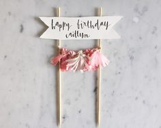 Cake Topper / Modern Calligraphy / Custom Hand Lettered / Blush Pink Pinks / Made-To-Order/ Hand Made Mini Tassels / Birthday Party Diy Cake Topper, Unicorn Cake Topper, Birthday Cake Toppers, Sweet 16 Decorations, Birthday Decorations, Diy Birthday, Birthday Gifts, Design Your Own Cake, Happy Birthday Calligraphy