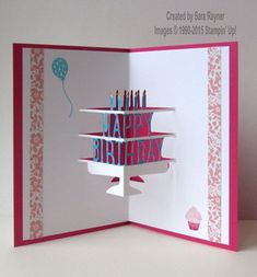 "inside view of birthday card ... die cut pop-up tiered cake spelling ""happy birthday"" ... fun look ... Stampin' Up!"