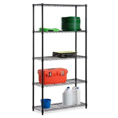 Diamond Home Commercial 61-inch x 21-inch 5-Tier Adjustable Wire Metal Rack, Black