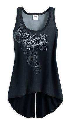 Womens Harley Mesh Lacing Black Sleeveless Tank