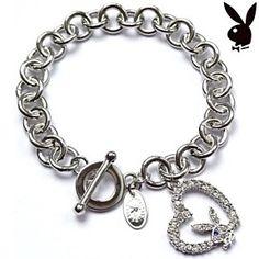 Playboy Bracelet Bunny Open Heart Charm Swarovski Crystals Toggle Clasp Logo by…