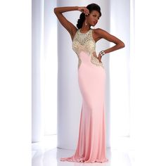Clarisse 4738 Prom Long Dress Long High Neckline Sleeveless ($478) ❤ liked on Polyvore featuring dresses, formal dresses, light pink, rhinestone prom dresses, long prom dresses, light pink long dress and formal prom dresses