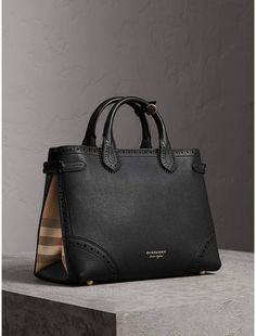 32d6b33601 Burberry The Medium Banner in Brogue Detail Leather Burberry Bags