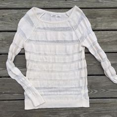 Fall sweater Tan colored see through sweater. Best worn over a cami.  Perfect over leggings with boots! Old Navy Sweaters Crew & Scoop Necks