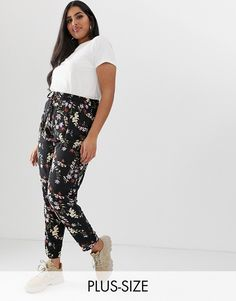 3194c6bf25e39 New Look Curve floral jogger in black pattern