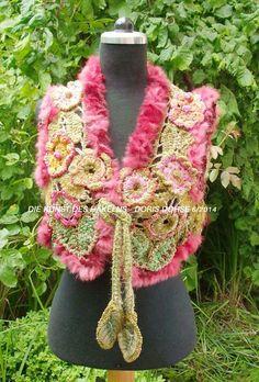 "Häkelweste ""Rosada"" (K 31) von *Die Kunst des Häkelns -  Doris Dohse*, Crocheted art from Doris Dohse, Créations au crochet - Doris Dohse.   auf DaWanda.com"
