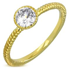 """Fairy Tale"" Twisted Rope Bezel Set Swarovski Element Solitaire Ring"