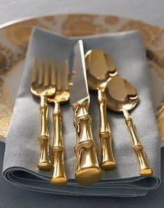 Gold bamboo handle place setting