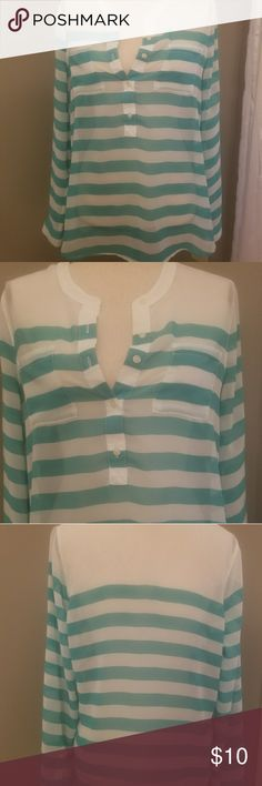 Sheer striped shirt 100% polyester Sheer striped shirt Old Navy Tops