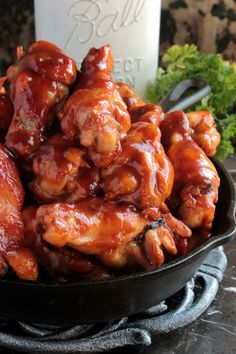 Quick BBQ wings that are baked in the oven in 30 minutes! 2 ingredients and 30 minutes is all that stands between you and dinner! Dinner Recipes Easy Quick, Quick Healthy Meals, Quick Dinner Recipes, Easy Weeknight Dinners, Easy Meals, Easy Recipes, Snack Recipes, Healthy Eating, Bbq Chicken Wings