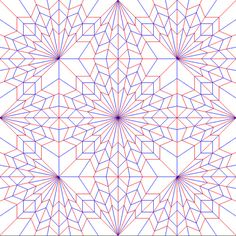 "https://flic.kr/p/zDMaF | 9 Radial Centers: 5 Interior, 4 Side | More complex figure 8, a 4 centered system instead of a 2 centered one.  ORIPA file  I'm not going to FOLD this, but I have almost all of the primary lines drawn, so I can score it and then fold it.  Tactom ""folded"" it first!  www.flickr.com/photos/miura-ori/435069123/"