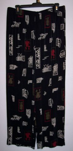 Chico's Pants 3 Travelers Slinky Stretch Travel Knit Black Red Crop Boho Tribal #Chicos #CaprisCropped