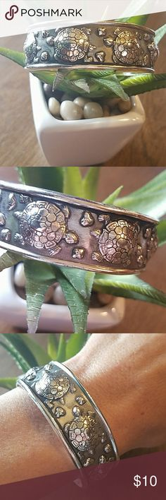 Tibet silver turtle cuff bracelet Stylish tibet silver cuff bracelet. Like new and adjustable. No stamp, yet nice quality! Jewelry Bracelets